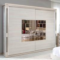Dulap dormitor Onix L250, ulm deschis, 2 usi glisante, cu oglinda, 250.5 x 62 x 213 cm, 11C