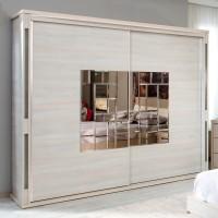 Dulap dormitor Onix L220, ulm deschis, 2 usi glisante, cu oglinda, 220.5 x 62 x 213 cm, 11C