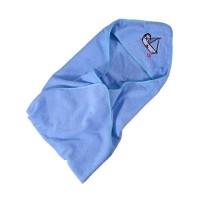 Prosop baie Cuddly Friends, pentru bebelusi, cu capison, bumbac, albastru, 75 x 80 cm