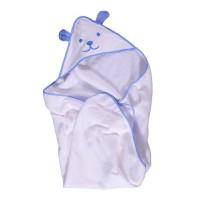 Prosop baie Happy Bear, pentru bebelusi, cu capison, bumbac, alb, 90 x 90 cm
