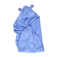 Prosop baie Happy Bear, pentru bebelusi, cu capison, bumbac, albastru, 90 x 90 cm