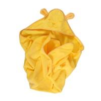 Prosop baie Happy Bear, pentru bebelusi, cu capison, bumbac, galben, 90 x 90 cm
