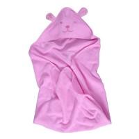 Prosop baie Happy Bear, pentru bebelusi, cu capison, bumbac, roz, 90 x 90 cm