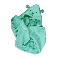 Prosop baie Happy Bear, pentru bebelusi, cu capison, bumbac, verde, 90 x 90 cm