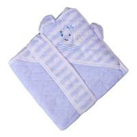 Patura confort Baby Blue, pentru bebelusi, cu capison si cordon, 90 x 90 cm, bumbac, albastra