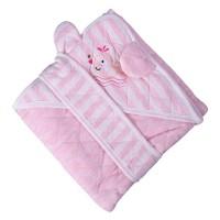 Patura confort Soft pink, pentru bebelusi, cu capison si cordon, 90 x 90 cm, bumbac, roz