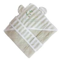 Patura confort Yellow green, pentru bebelusi, cu capison si cordon, 90 x 90 cm, bumbac, verde