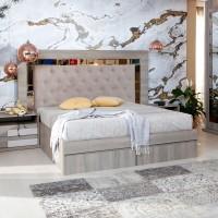 Pat dormitor Opera, matrimonial, tapitat, cu sertare, ulm inchis, 160 x 200 cm, 5C
