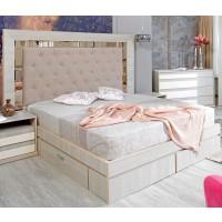 Pat dormitor Opera, matrimonial, tapitat, cu sertare, ulm deschis, 160 x 200 cm, 5C