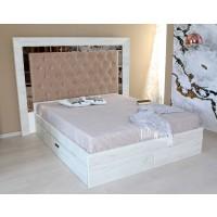 Pat dormitor Opera, matrimonial, tapitat, cu sertare, crem, 180 x 200 cm, 5C