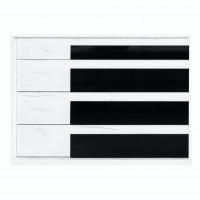 Comoda dormitor Opera M4, cu 4 sertare, crem + negru lucios, 130 x 89 x 50 cm, 5C