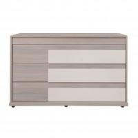 Comoda dormitor Opera P3, cu 3 sertare, ulm inchis + saten lucios, 130 x 50 x 78 cm, 5C