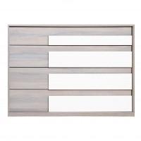 Comoda dormitor Opera M4, cu 4 sertare, ulm inchis + alb lucios, 130 x 89 x 50 cm, 5C