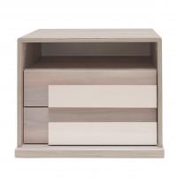 Noptiera Opera P2, cu 2 sertare + 1 raft, ulm inchis + saten lucios, 61 x 48 x 48 cm, 2C