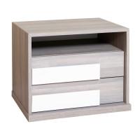 Noptiera Opera P2, cu 2 sertare + 1 raft, ulm inchis + alb lucios, 61 x 48 x 48 cm, 2C