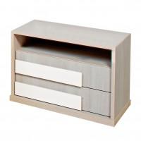 Noptiera Opera P2, cu 2 sertare + 1 raft, ulm deschis + alb lucios, 61 x 48 x 48 cm, 2C