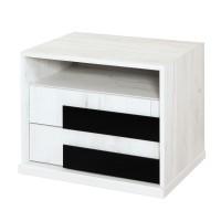 Noptiera Opera P2, cu 2 sertare + 1 raft, crem + negru lucios, 61 x 48 x 48 cm, 2C