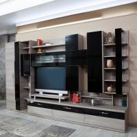 Biblioteca living Pallas Domino, ulm inchis + negru lucios, 340 cm, 14C