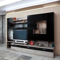 Biblioteca living Pallas Kubi, ulm inchis + negru lucios, 293 cm, 14C