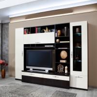 Biblioteca living Vanity, wenge + crem lucios, 265 cm, 13C
