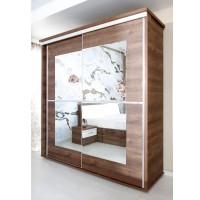 Dulap dormitor Pallas L207/H212, nuc, 2 usi glisante, cu oglinda, 207 x 62 x 212 cm, 8C