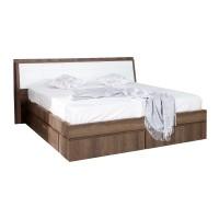 Pat dormitor Pallas, matrimonial, tapitat, cu sertare, nuc, 160 x 200 cm, 5C