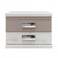 Noptiera Pallas P2, cu 2 sertare, alb craft + bazalt mat, 51 x 38 x 43.5 cm, 2C