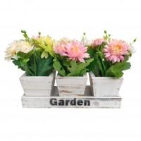 Set 3 flori artificiale WFP-A3, alb + galben + roz, 18 cm