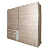 Dulap dormitor Loft L231/H212, sherwood + crem, 2 usi glisante, 231 x 62 x 212 cm, 9C