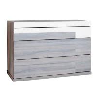 Comoda dormitor Loft P3, cu 3 sertare, ulm inchis + alb lucios, 110 x 78 x 50 cm, 5C