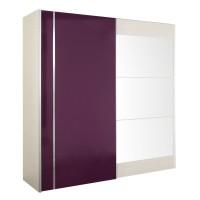Dulap dormitor Vogue L231/H212, alb + mov lucios, 2 usi glisante, cu oglinda, 231 x 65 x 212 cm, 10C