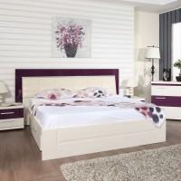 Pat dormitor Vogue, matrimonial, tapitat, cu sertare, alb + mov lucios, 180 x 200 cm, 5C