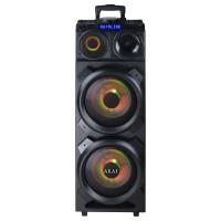 Boxa portabila activa Akai DJ-3210, 90 W, Bluetooth, Dual USB, Aux in, radio FM, amplificator de inalta putere cu X Drive Mode, sistem DJ Pro Effect, lumina disco RGB Party, negru, microfon, telecomanda, troler inclus