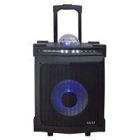 Boxa portabila activa Akai ABTS-80, 30 W, Bluetooth, USB, Aux in, radio FM, intrare microfon, afisaj LED, glob lumini disco RGB, functie karaoke, negru, telecomanda, troler inclus