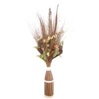 Aranjament flori uscate, 218 AR 38722, 100 cm, natural + maro