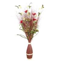 Aranjament flori uscate, 218 AR 38800, 100 cm, maro + rosu