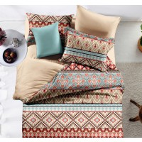 Lenjerie de pat, 2 persoane, Caressa 78A2024, poliester 100%, 6 piese, multicolor