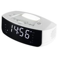Ceas birou desteptator Home LTCR 03, digital, radio FM, lampa, din plastic, 19 x 7.5 x 12 cm, soclu USB pentru incarcare telefon, cablu de conectare stereo Aux, alb