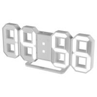 Ceas perete / birou desteptator Home LTC 04, digital, design 3D, din plastic, 23.5 x 10 x 2.5 cm, alb