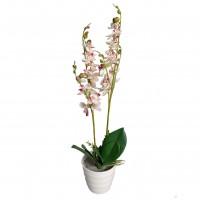Floare artificiala JWP359, orhidee alb cu roz, 50 cm