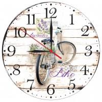 Ceas perete ES28228, analog, rotund, din lemn, diametru 28 cm