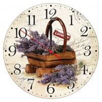 Ceas perete ES28235, analog, rotund, din lemn, diametru 28 cm
