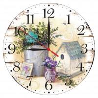 Ceas perete ES28236, analog, rotund, din lemn, diametru 28 cm
