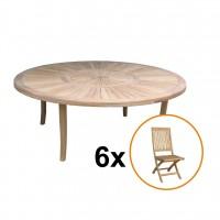 Set masa rotunda, cu 6 scaune pliante, pentru gradina Ithaca, din lemn