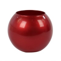 Vaza decorativa 43417, din sticla, rosie, h 10 cm