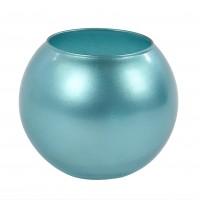 Vaza decorativa 43417, din sticla, turcoaz, h 10 cm