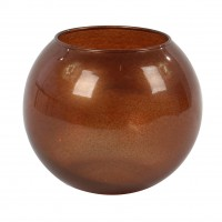 Vaza decorativa 43417, din sticla, maro, h 10 cm