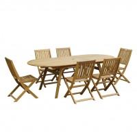 Set masa extensibila TDT4026-OV cu 6 scaune pliante din lemn, pentru gradina