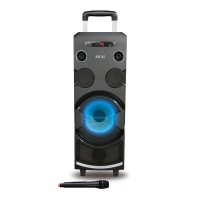 Boxa portabila activa Akai ABTS-1002, 80 W, Bluetooth, USB, SD card, Aux in, karaoke, radio FM, negru, microfon, telecomanda, display LED