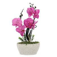 Floare artificiala JYH-3381, orhidee roz, 34 cm